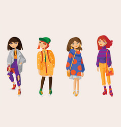 set with lovely hand drawn girls in casual vector image