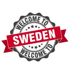 Sweden round ribbon seal vector