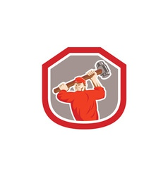 Union worker striking smashhammer shield retro vector