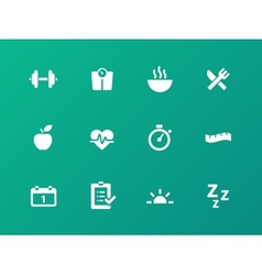 Fitness icons on green background vector