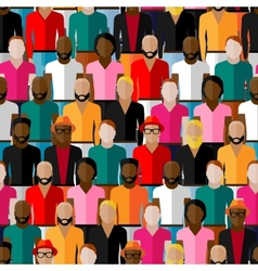 Seamless pattern with a large group of guys and vector
