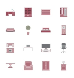 Furniture flat icon set vector