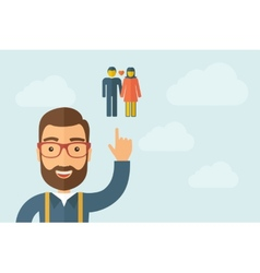 Man pointing the couple icon vector
