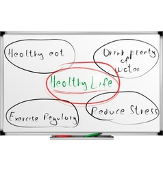 Writing healthy life style words on a board vector