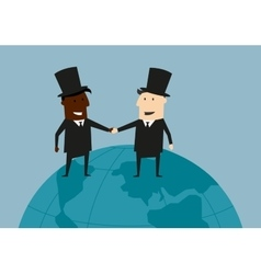 International business handshake on the earth vector