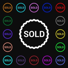 Sold icon sign lots of colorful symbols for your vector