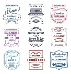 Denim typography emblems vector