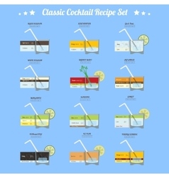 Classic cocktail recipe set vector