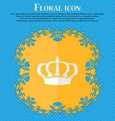 Crown floral flat design on a blue abstract vector