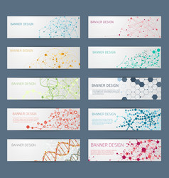 Abstract geometric dna banners vector
