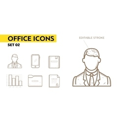 Line icons with flat design elements of office vector