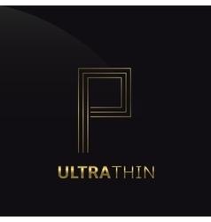 Ultrathin P Letter vector image
