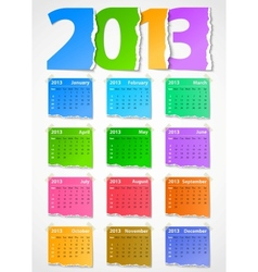 Calendar 2013 colorful torn paper vector