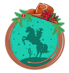 American cowboy Christmas background vector image vector image