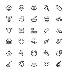 Baby line icons 1 vector