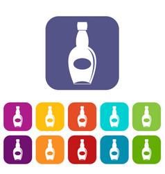 big bottle icons set flat vector image