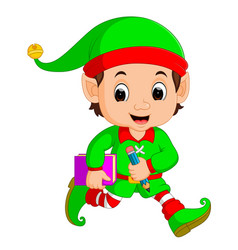 Cartoon elf holding book and pencil vector