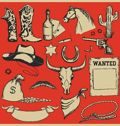 Cowboy western set of objects vector