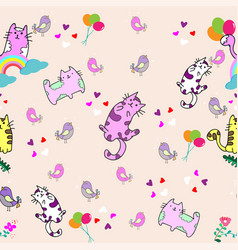 cute cat seamless pattern with little bird on vector image