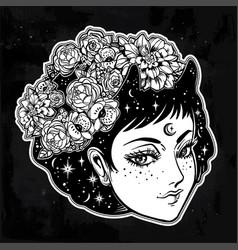 Fairy girl portrait in vinatge manga style vector