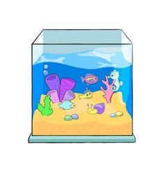 fish tank cartoon cute sea vector image vector image