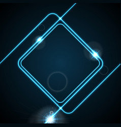 glow neon blue lines abstract frame background vector image