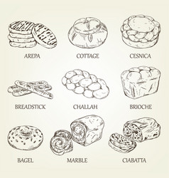 Hand-drawing collection of bakery products vector