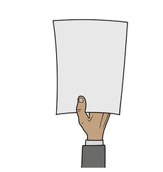 hand with blank paper vector image vector image
