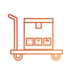 Logistic trolley cardboard box transport cargo vector