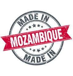 Made in mozambique red round vintage stamp vector