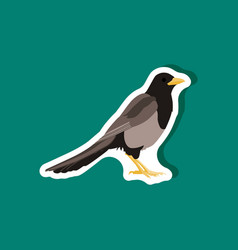 Magpie paper sticker on stylish background vector