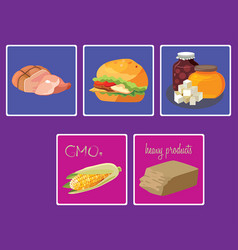 Meats sweets fast food gmo heavy products vector