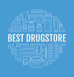medical drugstore poster template vector image vector image