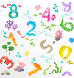 Numbers like sea inhabitants seamless pattern vector image