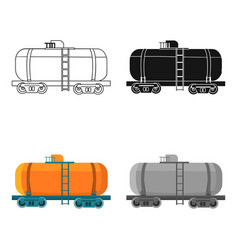 Oil tank car icon in cartoon style isolated on vector