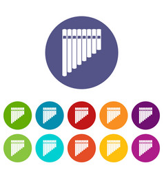 Pan flute set icons vector