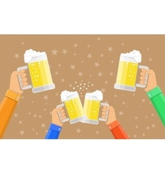 People holding beer glasses and clinking vector