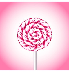 Pink and white candy cane sweet spiral vector image