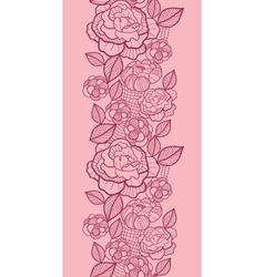 Red line art flowers vertical seamless pattern vector image