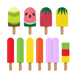 Set of fruit ice cream bar in flat style vector