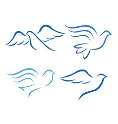 Stylised bird designs vector