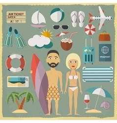 Summer holiday character design with summer vector
