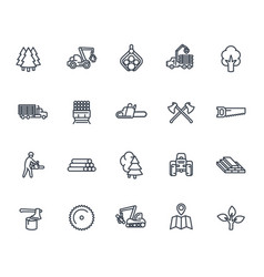 timber industry icons on white vector image vector image