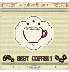 Vintage label coffee shop vector image vector image