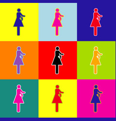 women and baby sign pop-art style vector image vector image