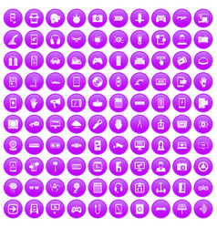 100 gadget icons set purple vector