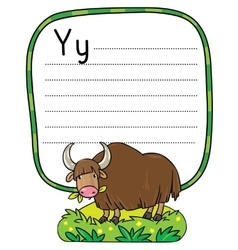 Funny wild yak for abc alphabet y vector