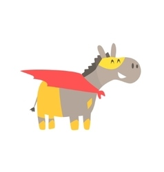 Donkey smiling animal dressed as superhero with a vector