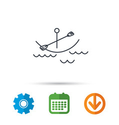 Kayaking on waves icon boating or rafting sign vector