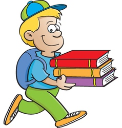 Cartoon boy carrying books vector